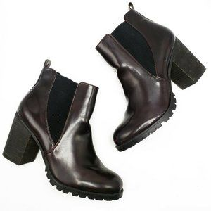 STEVE MADDEN Burgundy Leather Women's Ankle Boots